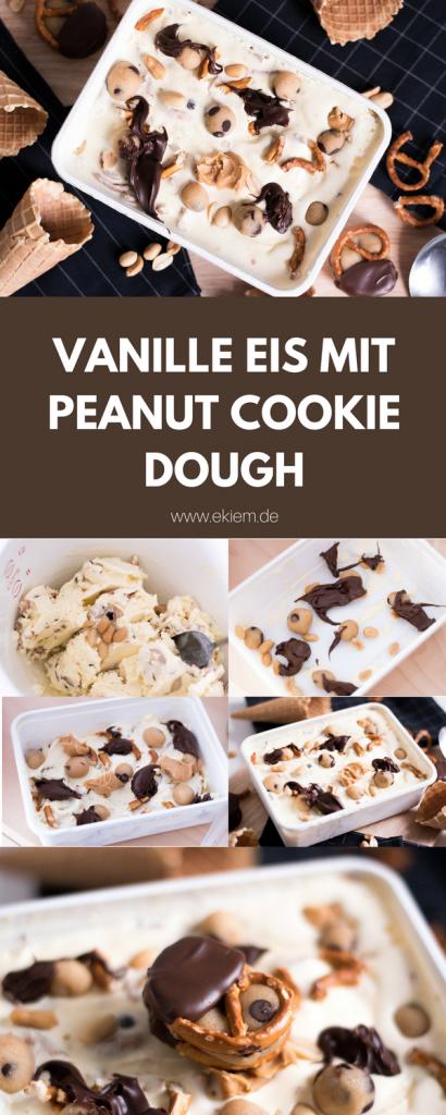 Salziges Vanille Eis mit Peanut Cookie Dough // ohne Eismaschine!